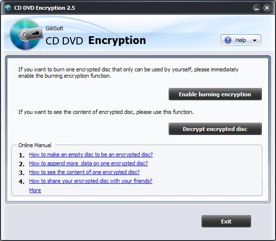 GiliSoft CD DVD Encryption full screenshot